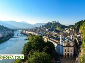 Řeka Salzach a město Salzburg