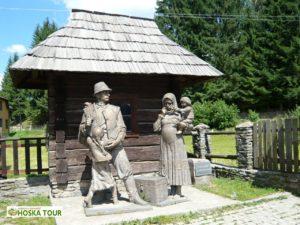 Koločava - památník odjíždějícím otcům za prací