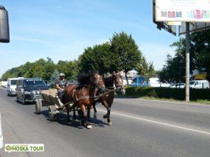 Koňský povoz na hlavní silnici v Mukačevu