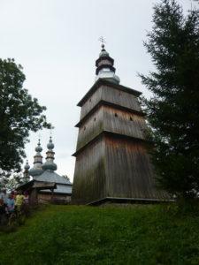 největší zvonice v Bieszczadech u kostela v Turzańsk