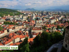 Centrum města Lublaně (Ljubljana) z hradu