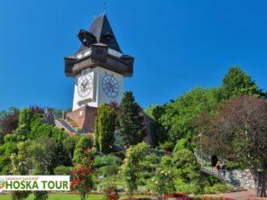 Graz - Zámecký vrch s hodinovou věží
