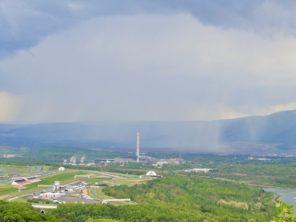 Výhled na autodrom a Krušné Hory