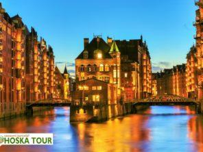 Zájezd Hamburg - nočně nasvícené město na vodě