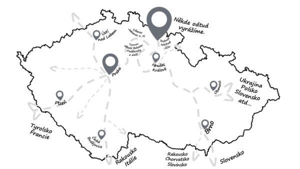 mapa odjezdů na zájezdy